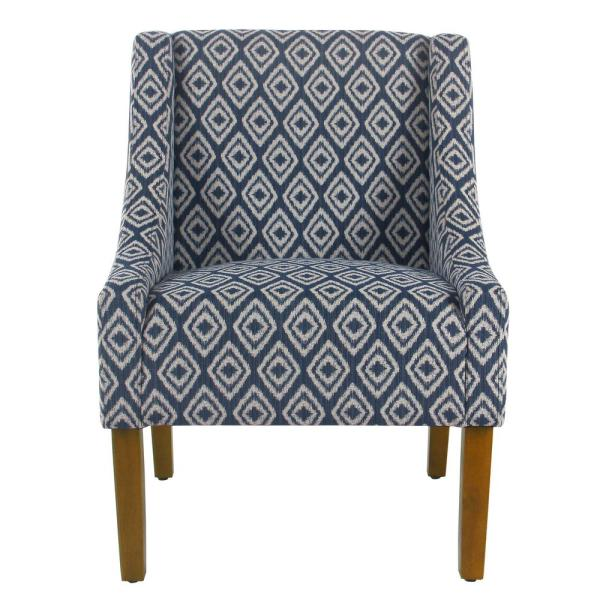 Homepop Blue Indigo Geo Modern Swoop Arm Accent Chair K6908-F2264