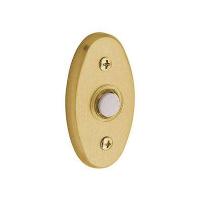 3 in. Oval Wired Lighted Push Button Doorbell - Lifetime Polished Brass