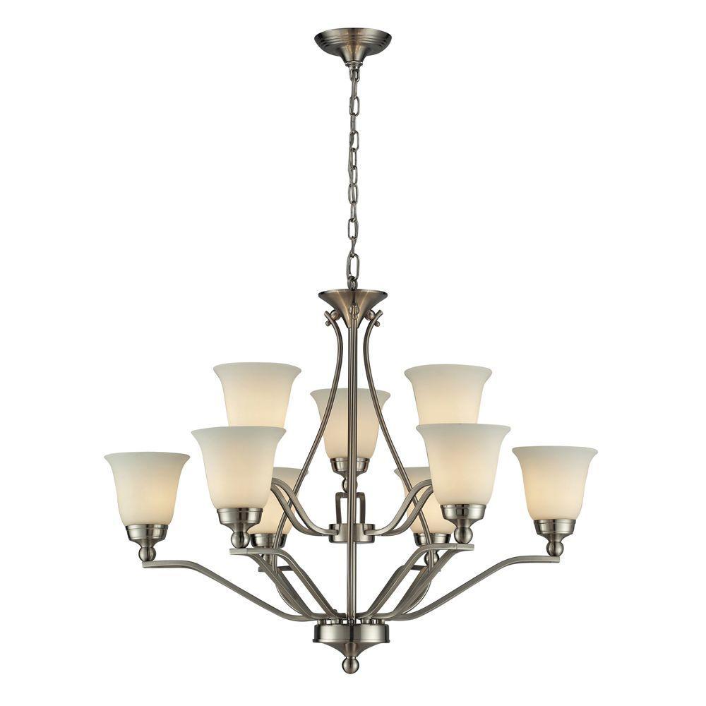Titan Lighting Sullivan 9-Light Ceiling Brushed Nickel Chandelier