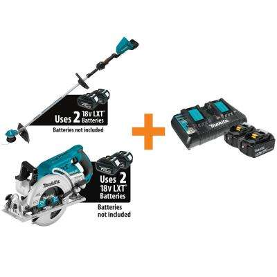 18-Volt X2 (36-Volt) LXT Brushless Cordless String Trimmer with Bonus Circular Saw, 2 Batteries 5.0 Ah, Dual Charger