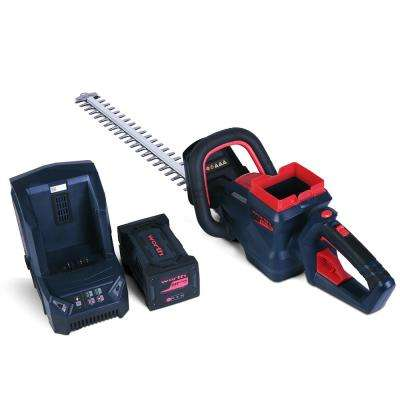 Red and Black 24 in. 2.5 Ah 84-Volt Lithium-ion Battery Brush-less Motor Cordless Hedge Trimmer Set