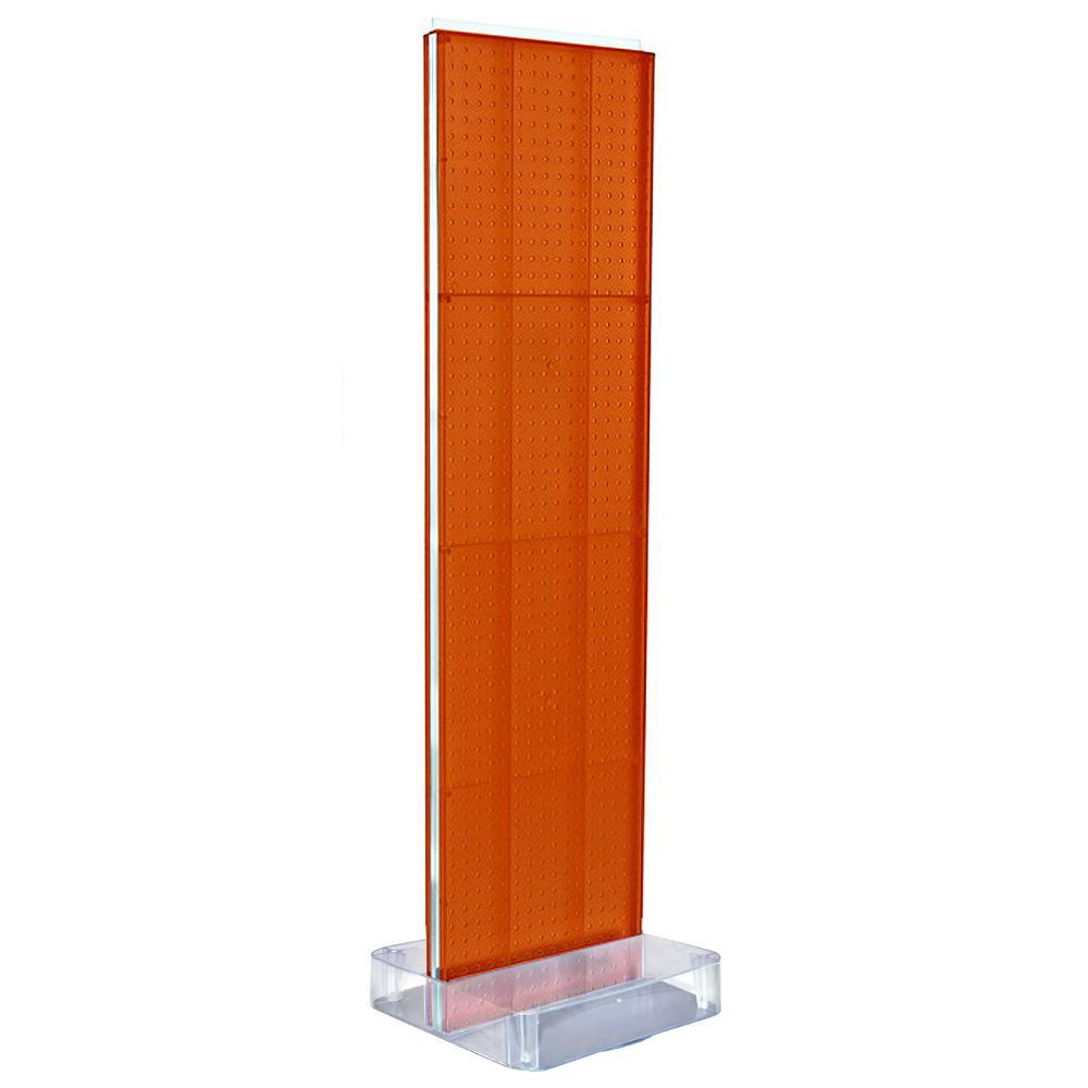 60 in. H x 16 in. W 2-Sided Pegboard Floor Display on Studio Base in Orange