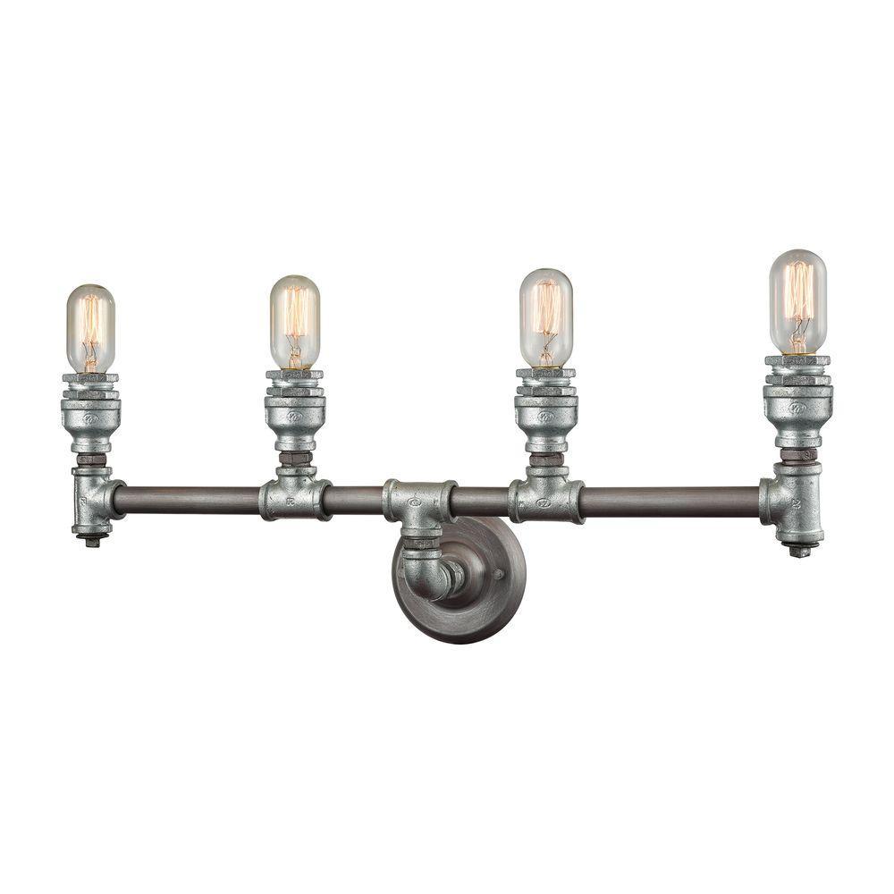 Cast Iron Pipe 4-Light Weathered Zinc Vanity Light