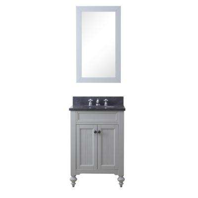 Potenza 24 in. W x 33 in. H Vanity in Earl Grey with Granite Vanity Top in Blue Limestone with White Basin and Mirror