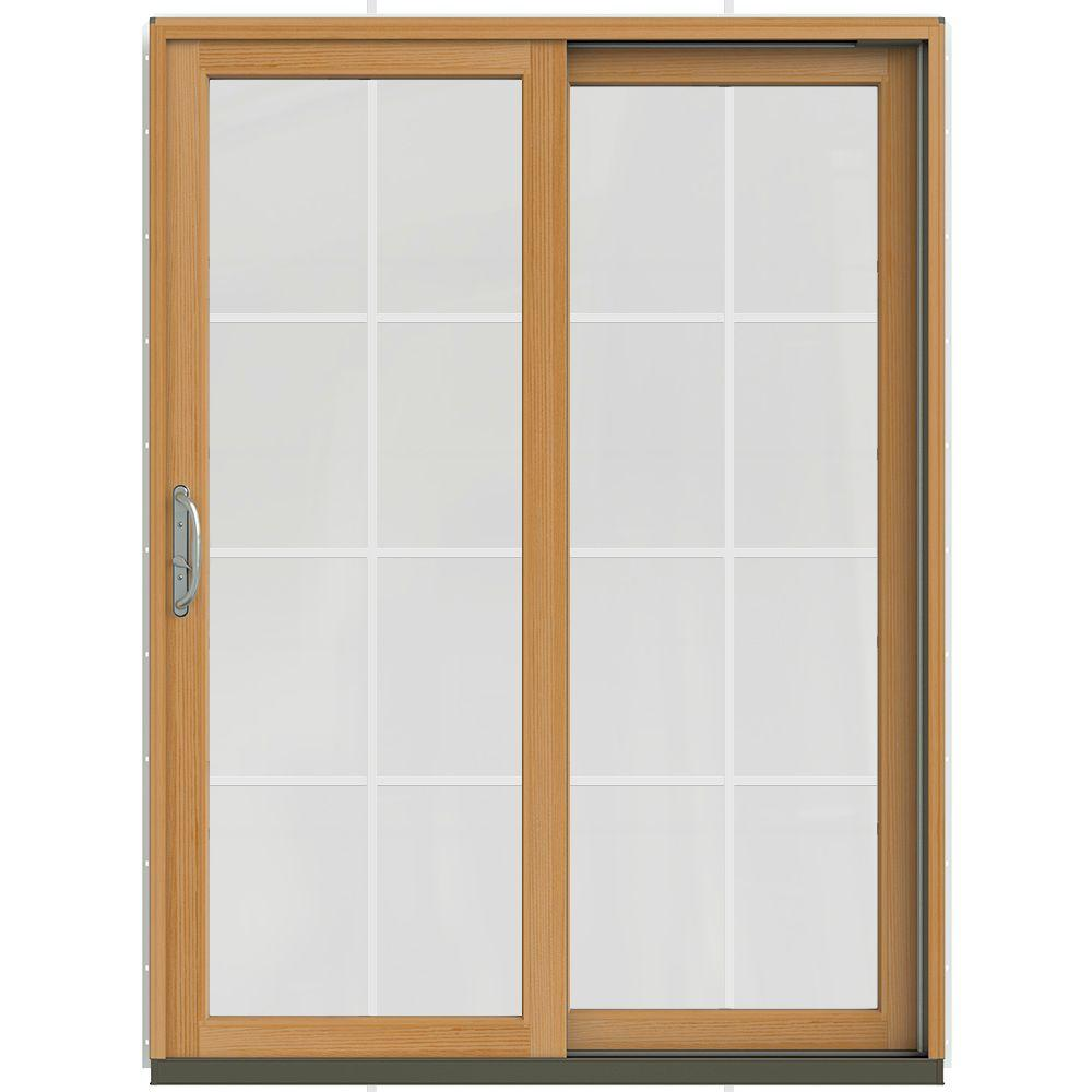 Jeld wen 59 1 4 in x 79 1 2 in w 2500 brilliant white for Sliding wood patio doors