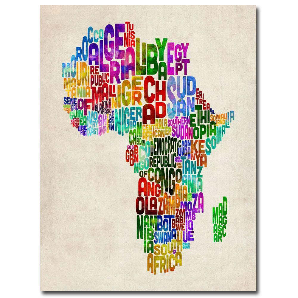 null 24 in. x 32 in. Africa Text Map Canvas Art