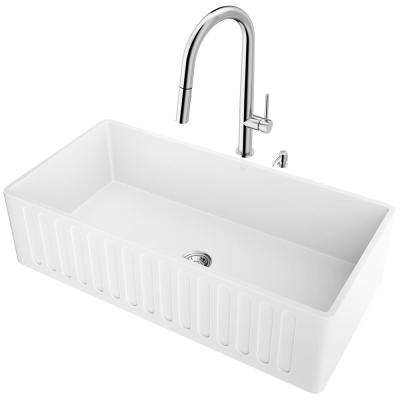 All-in-One Farmhouse Apron Front Matte Stone 36 in. Single Bowl Kitchen Sink and Faucet Set in Chrome
