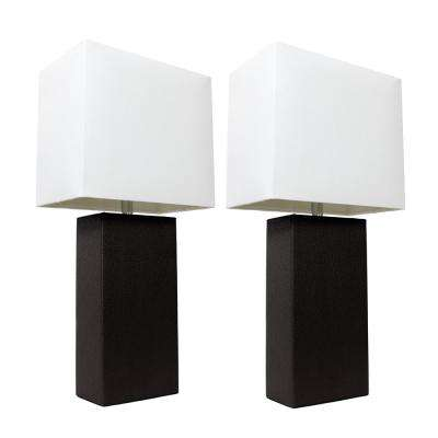 21 in. Modern Black Leather Table Lamps with White Fabric Shades (2-Pack)