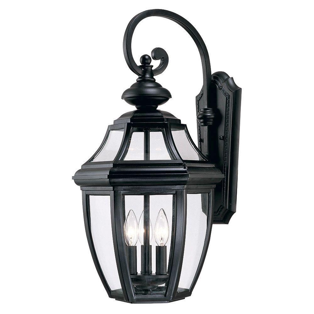 Satin 3-Light Outdoor Black Wall Lantern