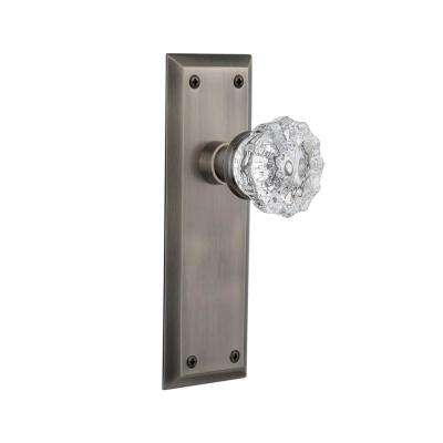 New York Plate 2-3/4 in. Backset Antique Pewter Privacy Bed/Bath Crystal Glass Door Knob