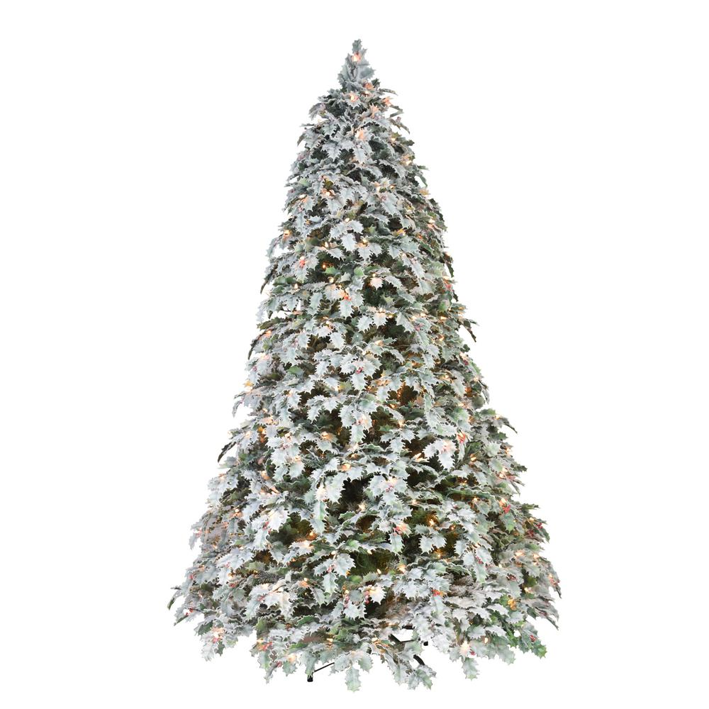Puleo International 7.5 ft. Pre-Lit Flocked Holly Holiday Artificial Christmas Tree with 550 UL-Listed Incandescent Lights