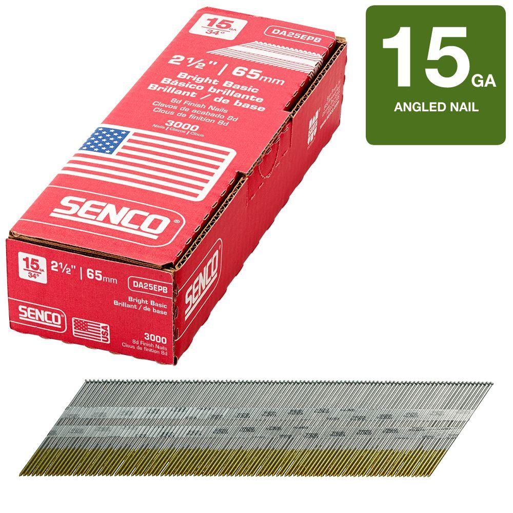 Senco 2-1/2 in. x 15-Gauge 3M Bright Steel Nail (3,000 per Box)
