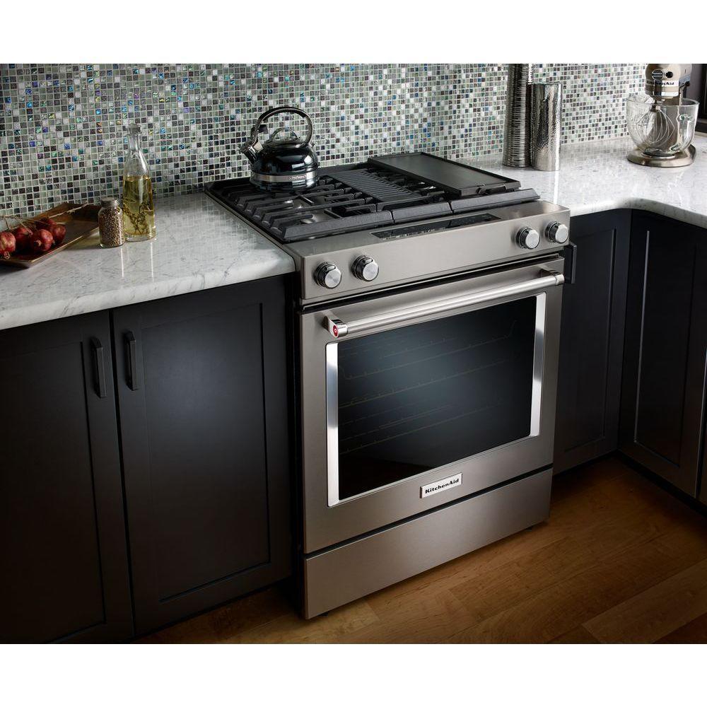 KitchenAid 6.4 cu. ft. Downdraft Slide-In Dual Fuel Range ...