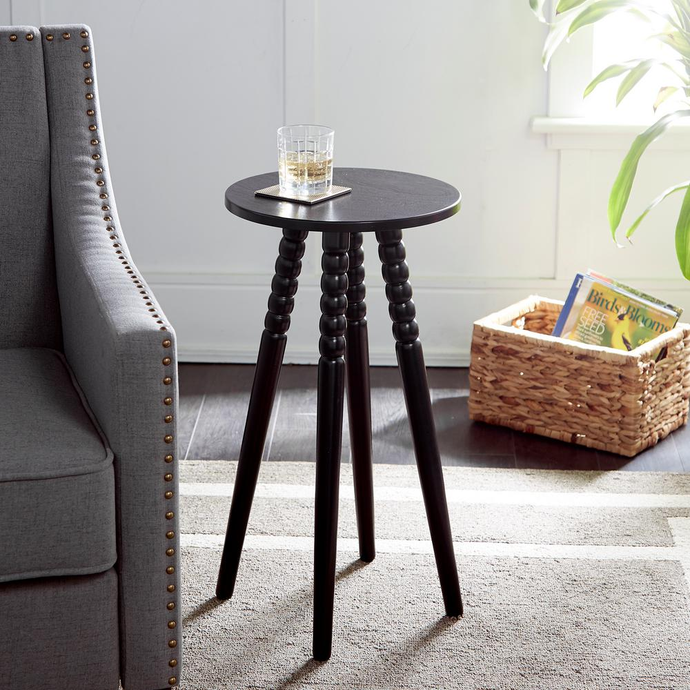 Benjamin Black Round Accent Table with Spindle Legs