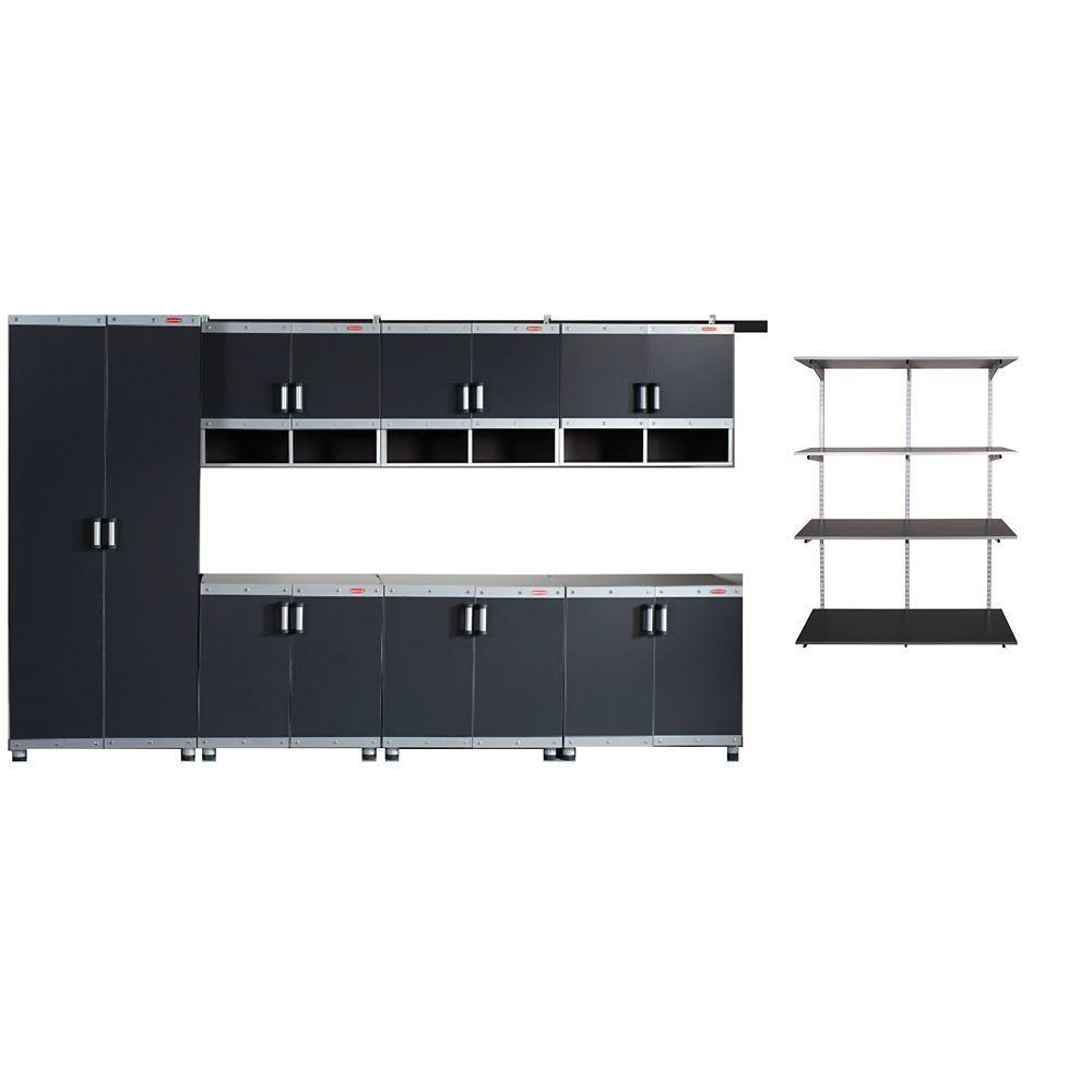 Rubbermaid FastTrack Garage Laminate 7 Piece Cabinet Set With Shelving In Black Silver