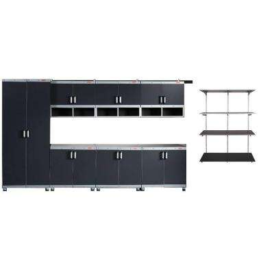 FastTrack Garage Laminate Cabinet Set with Shelving in Black/Silver (7-Piece)