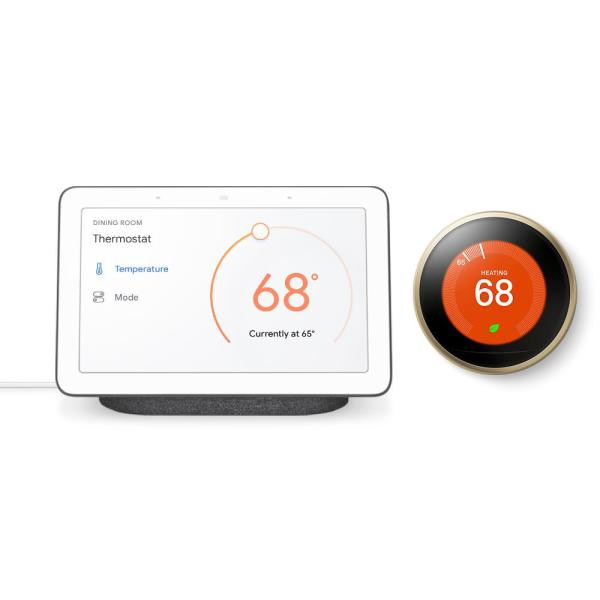 Nest Hub Charcoal and Nest Learning Thermostat 3rd Gen in Brass