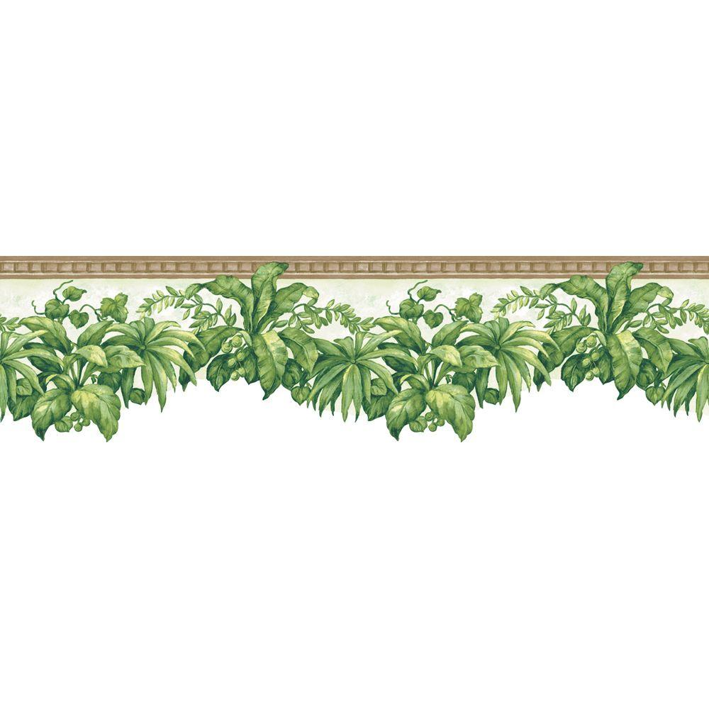 The Wallpaper Company 8 in. x 10 in. Green Tropical Plants Border Sample