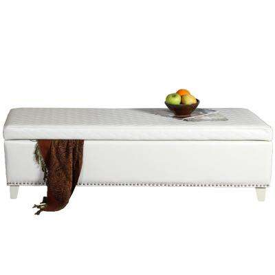 Plymouth Quilted Ivory Bonded Leather Storage Bench