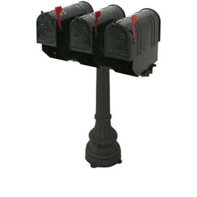 Underwood 3-Compartment Steel Black Colonial Mailbox and Post