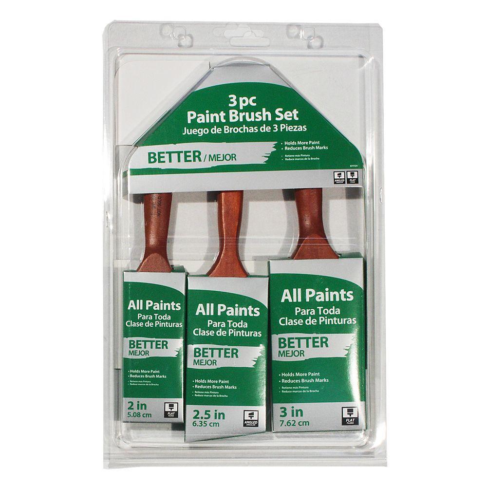 null 2 in. Flat, 3 in. Flat, 2.5 in. Angled Sash Paint Brush Set