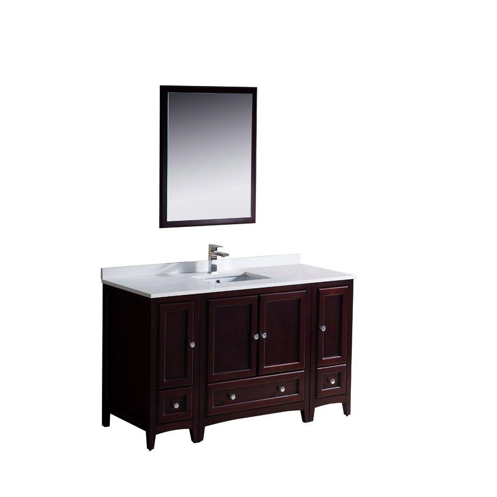 Fresca Oxford 54 in. Vanity in Mahogany with Ceramic Vanity Top in White with White Basin and Mirror