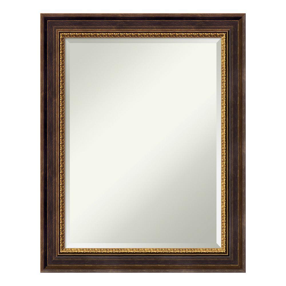 Veneto Distressed Black Wood 23 in. x 29 in. Traditional Bathroom Vanity Mirror
