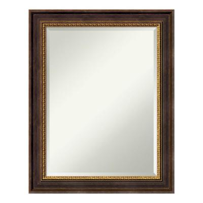 Veneto Distressed Black Wood 23 in. x 29 in. Traditional Bathroom Vanity Mirror