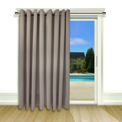 Ultimate Blackout 112 in. W x 84 in. L Polyester Blackout Patio Panel in Grey