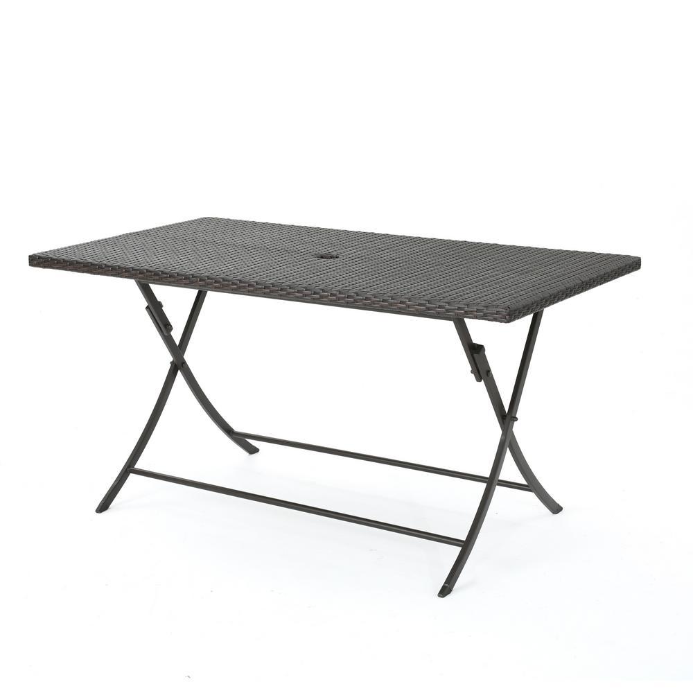 Dahlia Multibrown Rectangular Folding Wicker Outdoor Dining Table