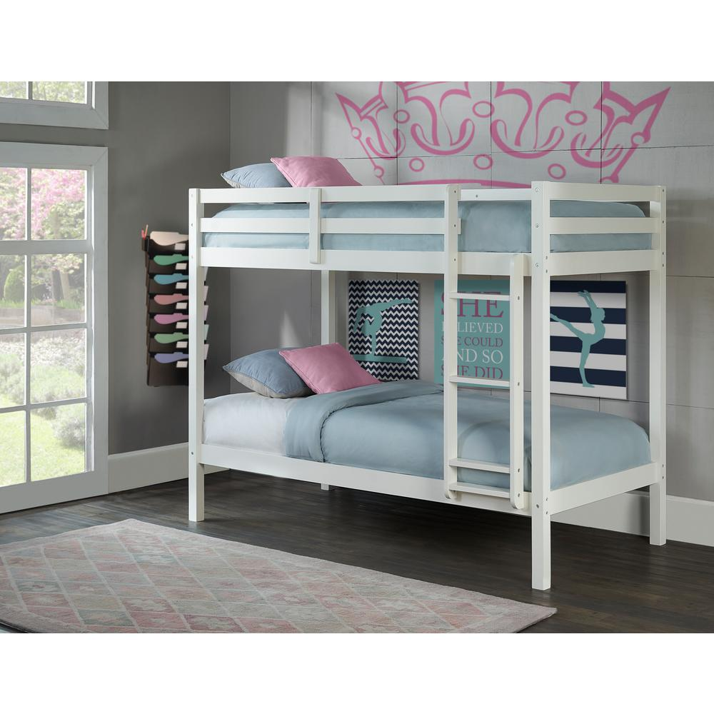 Hillsdale Furniture Caspian White Twin Over Twin Bunk Bed 2179 021 The Home Depot