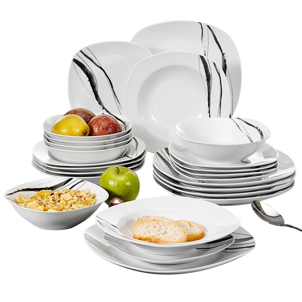TERESA 24-Piece Porcelain White Line Pattern Dinnerware Set Square Dinner Plates and Bowls Set (Service for 6)