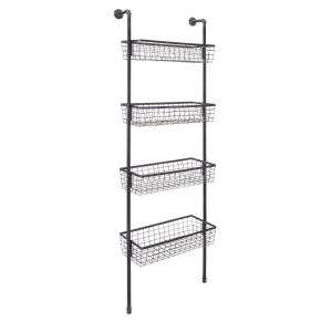 10 in. L x 25 in. W x 77 in. H Customary Styled Truman Wall Four Basket Shelf