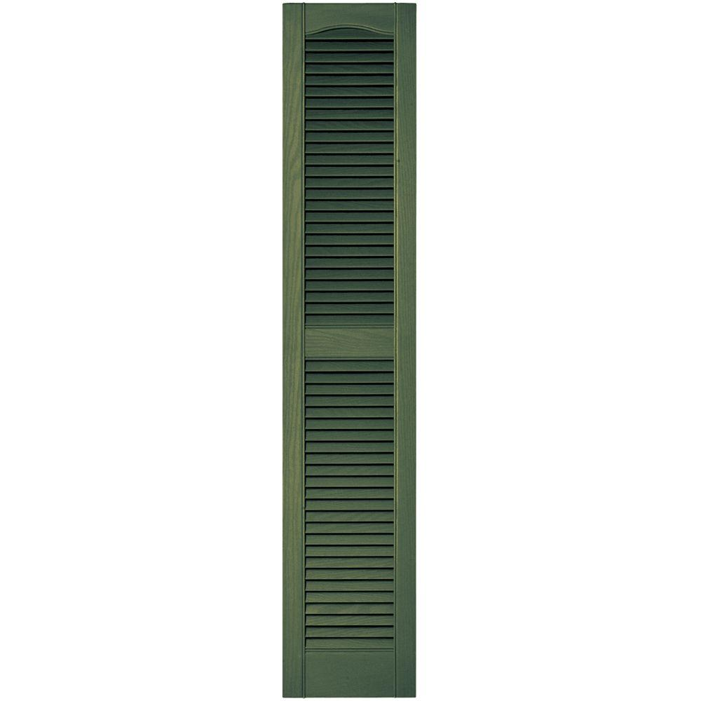 Builders Edge 12 in. x 60 in. Louvered Vinyl Exterior Shutters Pair in #283 Moss