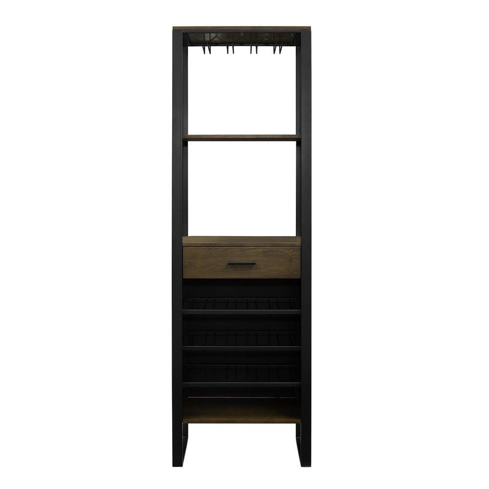 Tawn 15-Bottle Gunmetal/Ash Veneer Bar Cabinet with Wine Storage