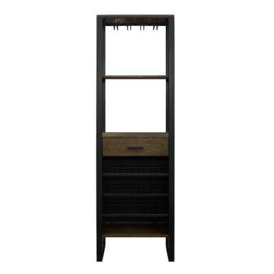 Tawn 15-Bottle Gunmetal/Ash Veneer Bar Cabinet with Wine Storage