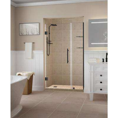 Belmore GS 44.25 in. to 45.25 in. x 72 in. Frameless Hinged Shower Door with Glass Shelves in Oil Rubbed Bronze