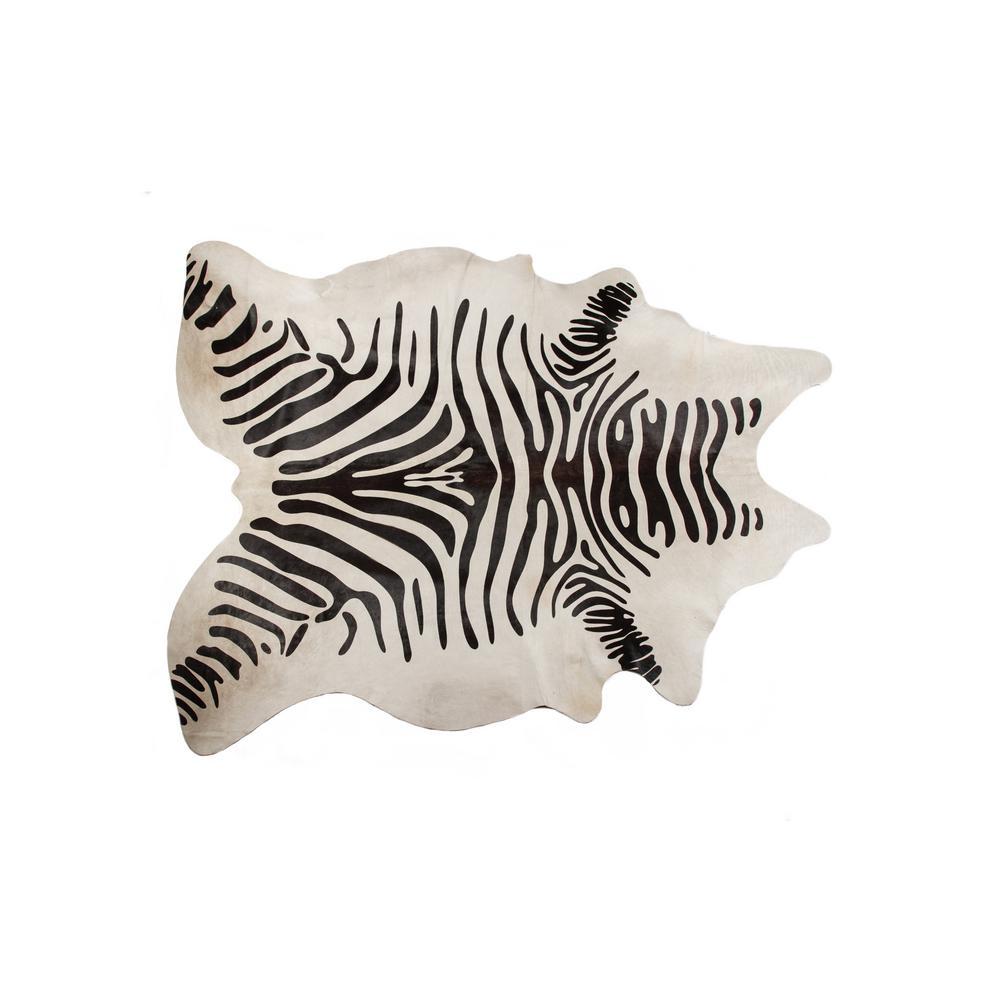 Togo Zebra Black on Off-White 6 ft. x 7 ft. Cowhide Area Rug