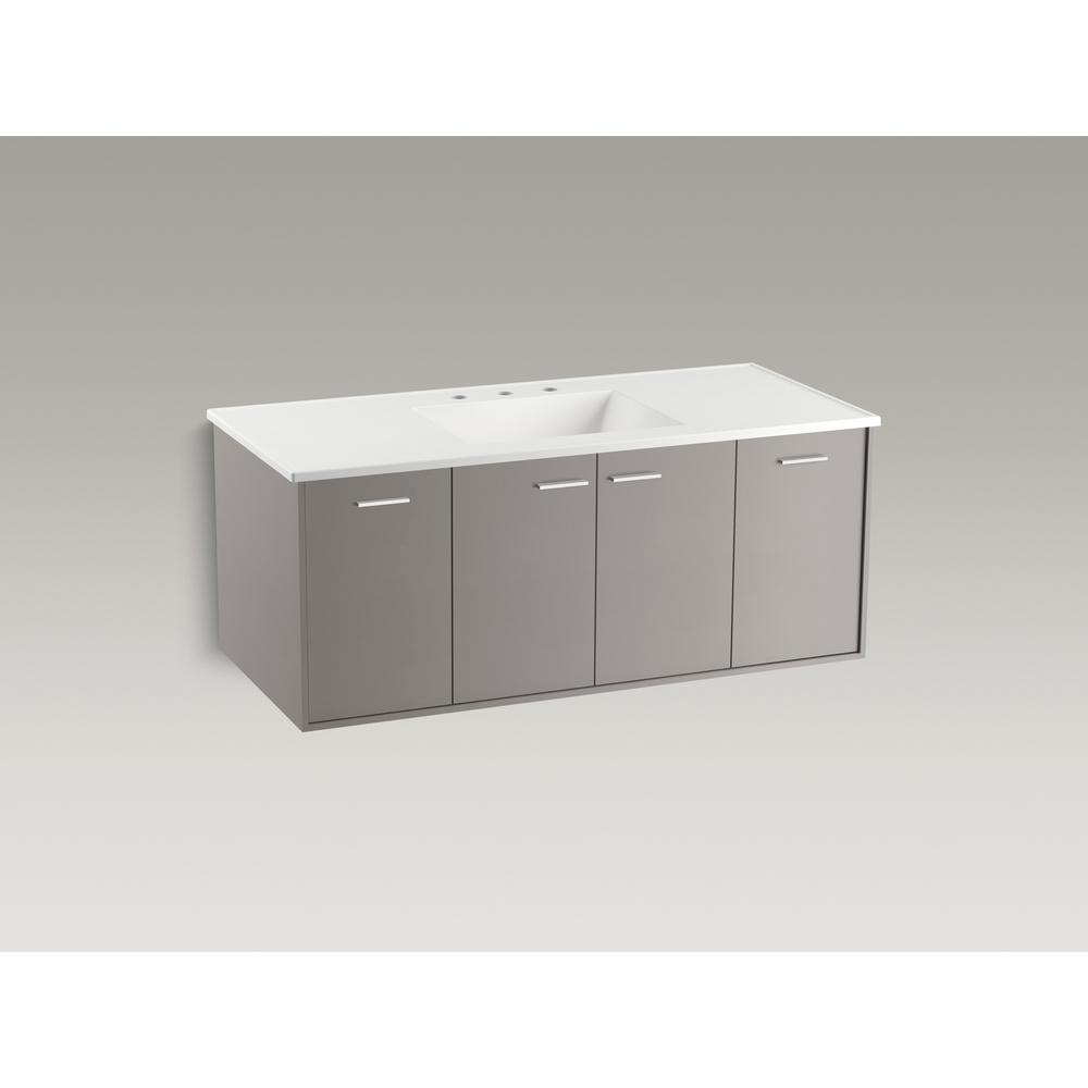 KOHLER Jute 48 in. W Wall-Hung Vanity in Mohair Grey with Vitreous China Vanity Top in White Impressions with White Basin