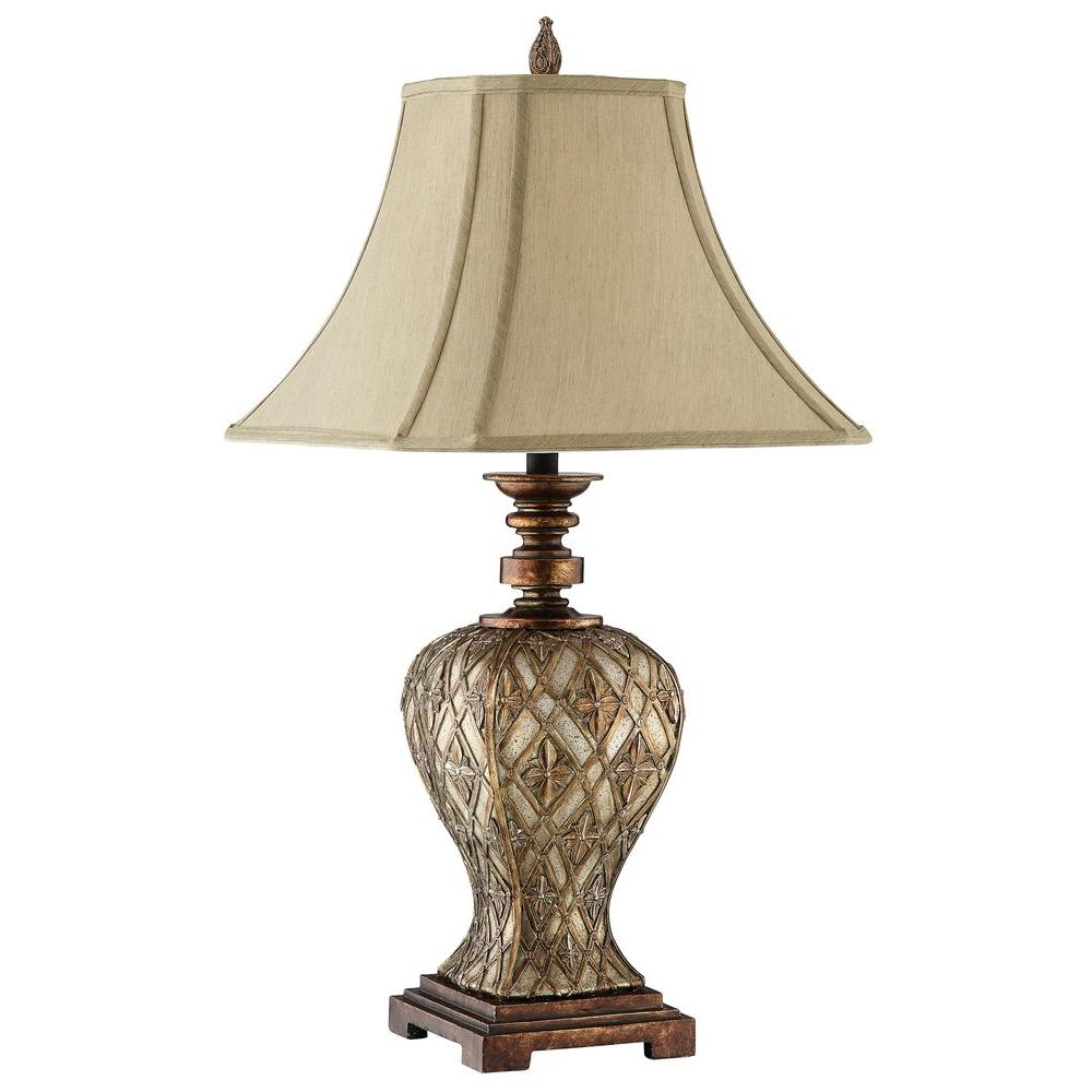 Filament Design Sonoma 30.5 in. Basket Weave Gold Incandescent Table Lamp