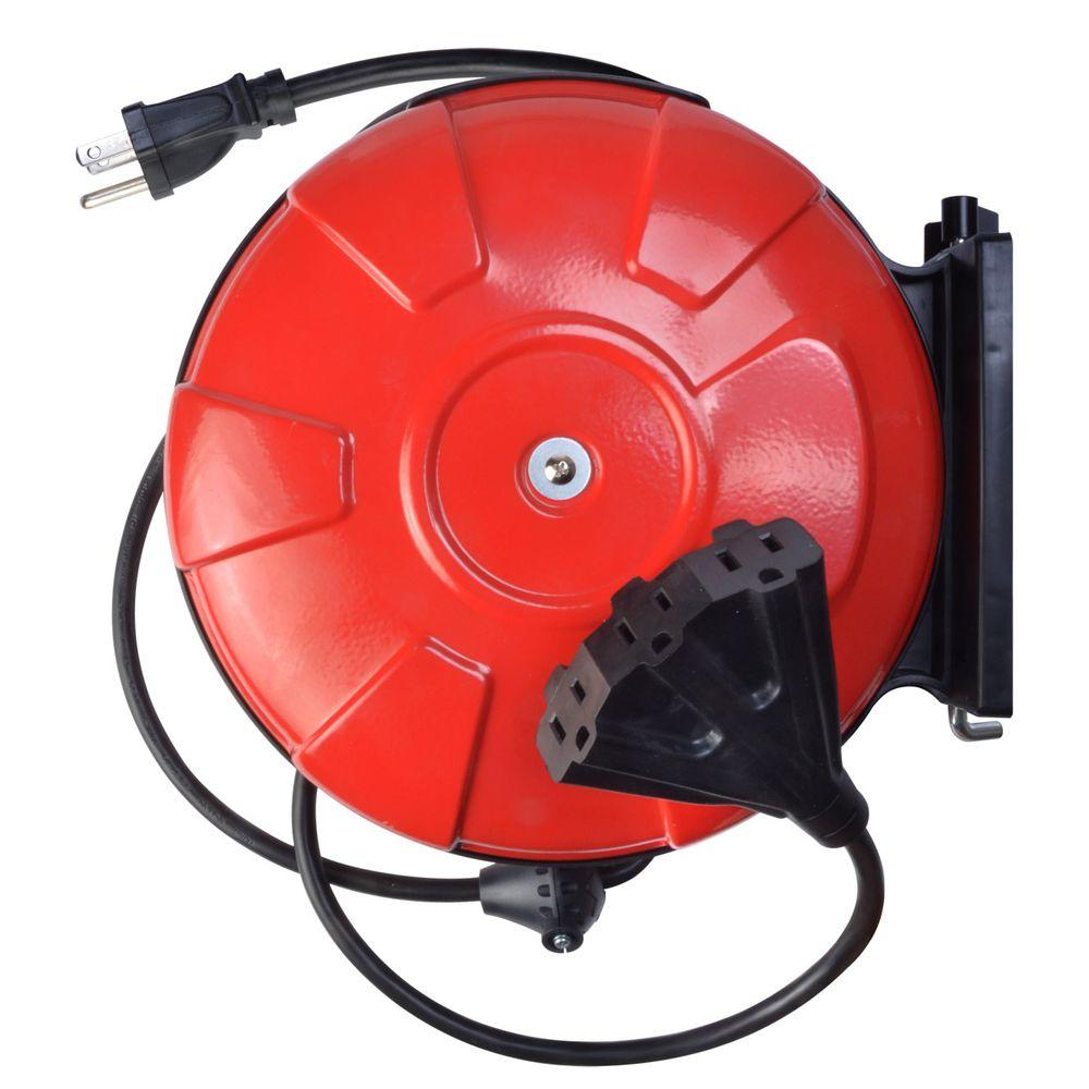 Woods 30 Ft 14 3 Cord Reel Power Station With Grounded Outlets Retractable Extension W Circuit Breaker