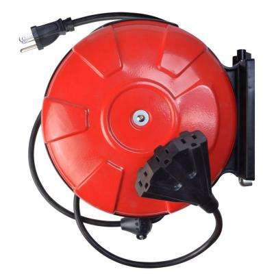 30 ft. 14/3 Cord Reel Power Station with 3 Grounded Outlets