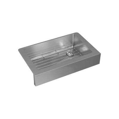Crosstown Farmhouse Stainless Steel 36 in. Single Bowl Kitchen Sink with Bottom Grid and Drain