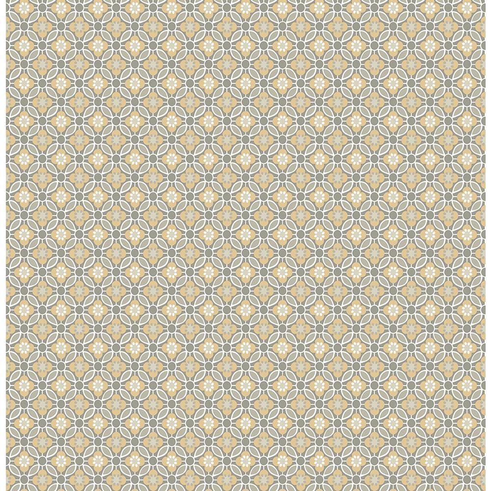 A-Street Audra Mustard Floral Wallpaper