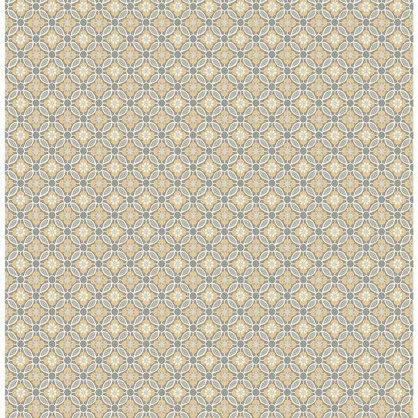 A-Street Audra Mustard Floral Wallpaper Sample 2657-22247SAM