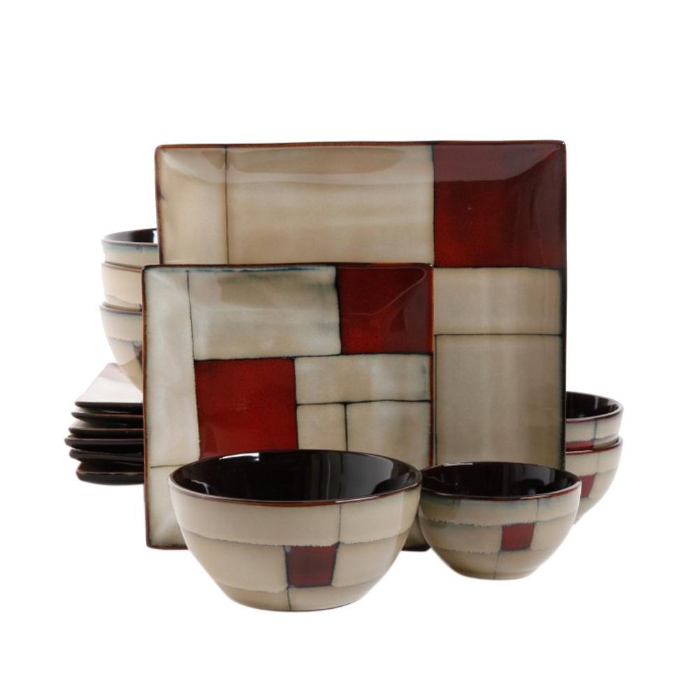 GIBSON elite Azeal 16-Piece Taupe Double Bowl Dinnerware Set 98595667M