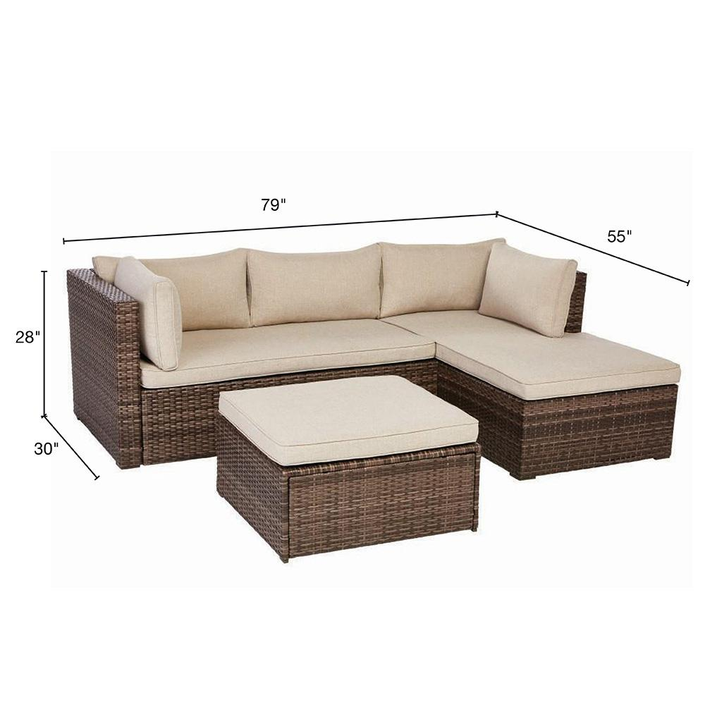 Fine Valley Peak Low Profile 3 Piece All Weather Wicker Outdoor Sectional Set With Beige Cushions Onthecornerstone Fun Painted Chair Ideas Images Onthecornerstoneorg