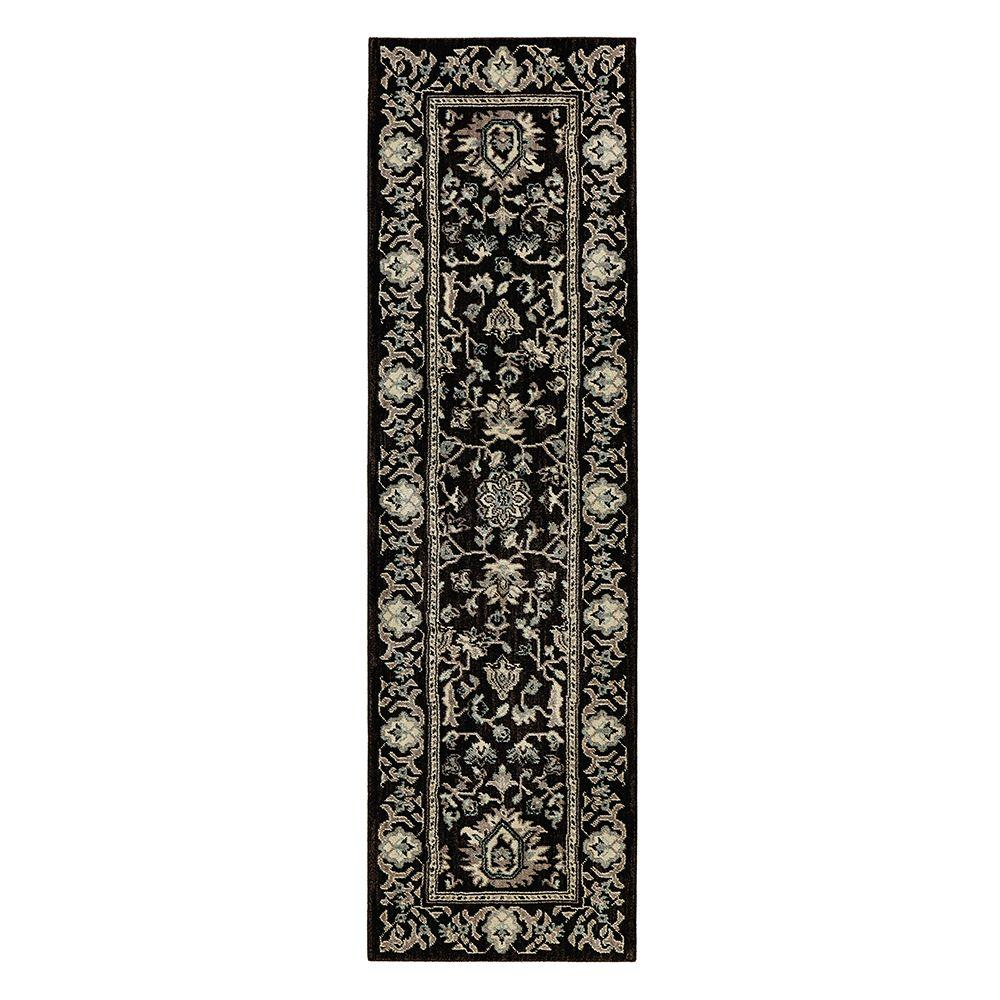Home Decorators Collection Jackson Black 2 Ft X 7 Ft Runner 509408 The Home Depot