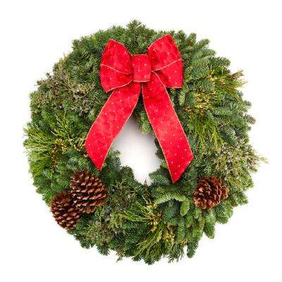22 in. Fresh Noble Fir and Cedar Christmas Wreath with Naturally Colorful Berries and Pine Cones