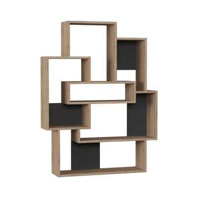 51.97 in. Oak/Anthracite Wood 6-shelf Etagere Bookcase with Open Back